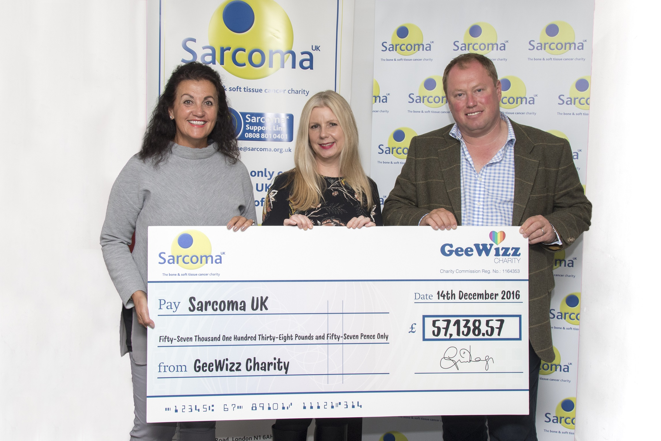 GeeWizz charity presents Sarcoma UK with cheque for more than £57,000