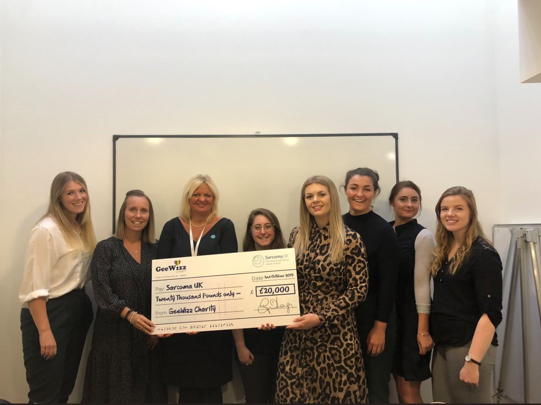 GeeWizz Charity presents Sarcoma UK with annual donation of £20,000